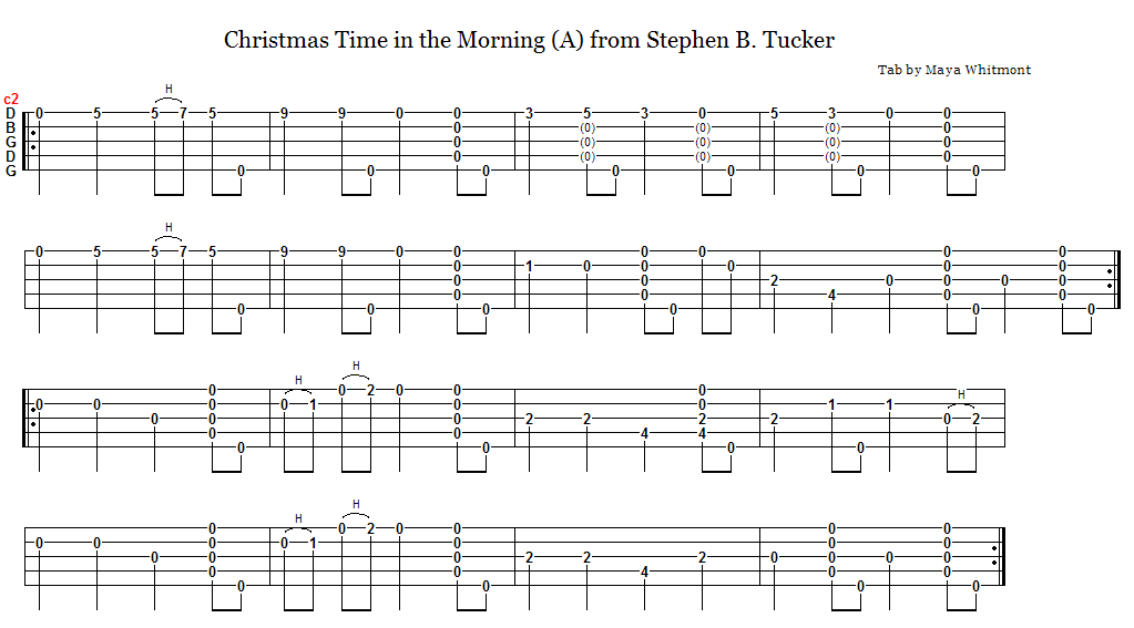 2/26/08 Christmas Time in the Morning, from Stephen B. Tucker: learn by ear;